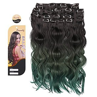Creamily Natural Black to Mixed Olives to Peacock Green 3-tone Ombre Color Wavy Clip in Hair Extensions 8 Pieces 18