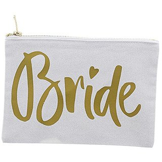 White Canvas Bride Cosmetic Bag with Gold Script - 6.5