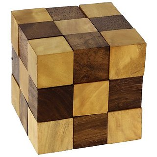 Wooden Puzzle Adult Snake Cube Handmade Gifts India by ShalinIndia