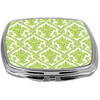 Rikki Knight Compact Mirror, Lime Green Damask, 3 Ounce