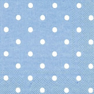 Ideal Home Range 20 Count Paper Cocktail Napkins, Large Spot Blue