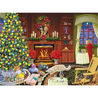Bits and Pieces - 1000 Piece Glow in the Dark Puzzle - Christmas Eve - Holiday Home Celebration - by Artist Joseph Burge