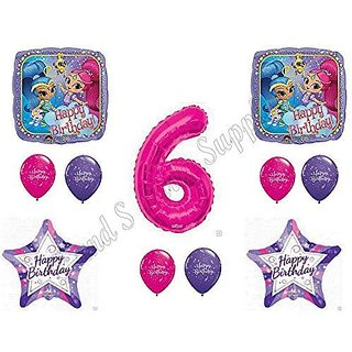 SHIMMER AND SHINE 6th Sixth HAPPY Birthday Party Balloons Decoration Supplies Genie Nick
