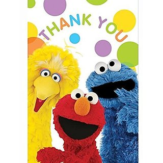 Amscan Sunny Sesame Street Postcard Birthday Party Thank You Cards, Multicolor, 4 1 4