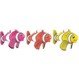 Amscan Inflatable Striped Fish Shape Summer Swimming Party Water Toy & Pool Decoration, Multicolor, 17