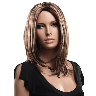Troadzwig Fashion Long Straight Streaked Hair Natural Middle part Wigs for Women Kanekalon Fiber Synthetic