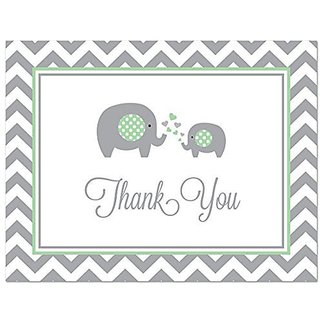 50 Cnt Chevron Mint Elephant Baby Shower Thank You Cards