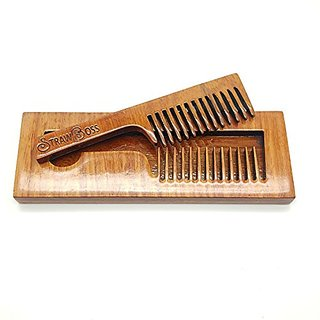 Handle Beard Comb In Wood Case W/ High Gloss Protective Coating