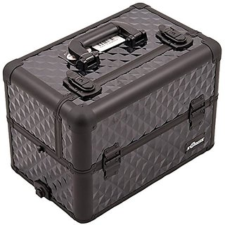 Craft Accents Aluminum Cosmetic Makeup Case, All Black Diamond Pattern, 112 Ounce