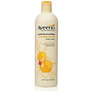 Aveeno Positively Nourishing Anti-oxidant Infused Body Wash White Peach + Ginger, 16 Fl Oz