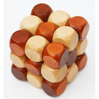 Toys of Wood Oxford Wooden Twist Cube 3D Puzzle - Brainteaser Puzzle