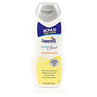 Coppertone Clearly Sheer SPF 30 Lotion for Sunny Days, 6.5 Ounce