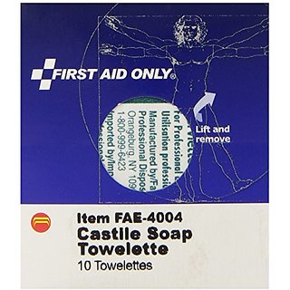 First Aid Only Castile Soap Towelette, 10 Count