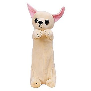 JoyUtoy Plush Pencil Case for Children Chihuahua Dog Toys Apricot