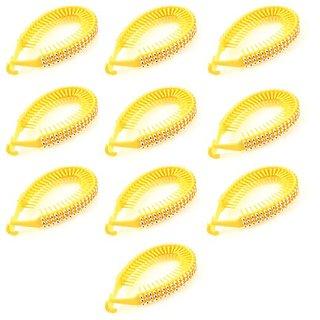 Rhinestone Accent Hook Type Closure Yellow Plastic Hair Clip for Women
