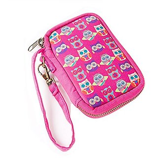 Natural Life Neoprene Wristlet Bag, Owls Pink