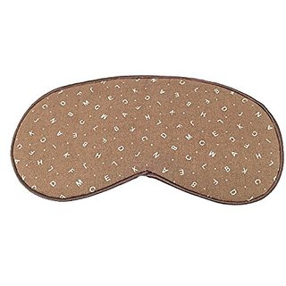 Cute Sleeping Eye Mask #80 Beige Alphabets and Smooth Hand Washable Eye Cover Sleep Mask for Girls or Women, Men