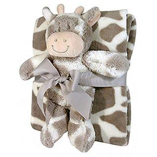 Stephan Baby Super-soft Coral Fleece Crib Blanket and Plush Toy Gift Set, Ginny Giraffe