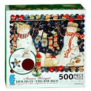 Susan Winget HOLIDAY TREASURES unique puzzle with a scalloped border & velvet back 500 Piece Puzzle