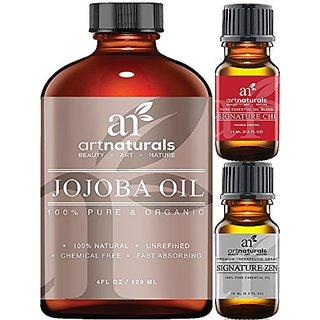 ArtNaturals USDA Certified Organic Jojoba Oil, (4oz) Best for Sensitive,Skin-Benefits The Face and Hair, Similar To Arga