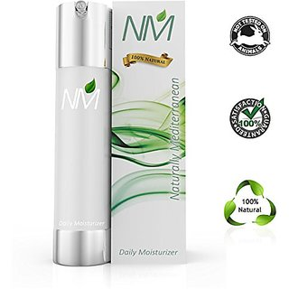 Naturally Mediterranean Natural Facial Moisturizer Cream with Aloe Vera, Argan Oil, Jojoba, Vitamin E and Airless Pump,