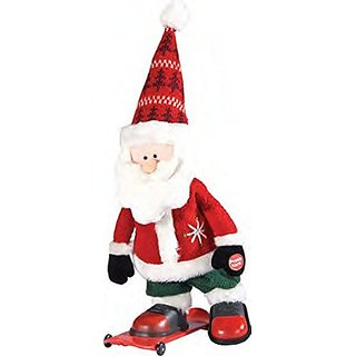 Musical Santa on Skateboard Plush Fabric Christmas Figure