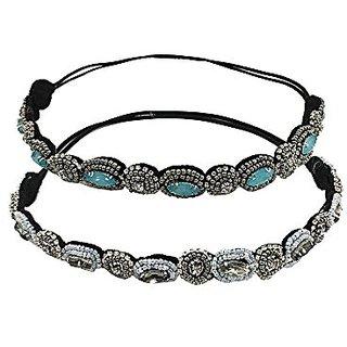 YUETON Pack of 2 Handmade Crystal Rhinestone Beads Elastic Headband Hair Band Women Hair Jewelry Accessories