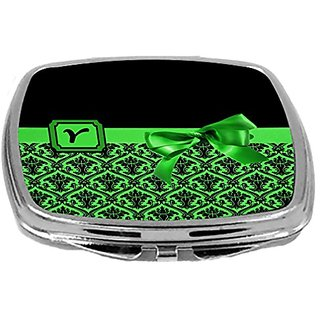 Rikki Knight Letter-Y Monogram Damask Bow Design Compact Mirror, Green, 2 Ounce