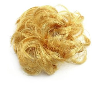 uxcell Gold Tone Faux Hair Elastic Short Curly Wig Ponytail Band for Lady