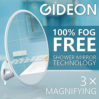 Gideon8482; Fogless Shower Mirror with Strong Suction-Cup Mounting Base - 3X Magnifying, 7 Inch Diam., 360 Degree Rotati