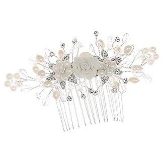 Handmade Bridal Floral Crystal Freshwater Pearl Wedding Hair Comb Tiara T1084