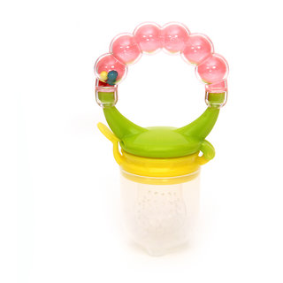 Silicone Baby Food/ Rattle Fruit Feeder/ Baby Teether/ Baby Soother, Pink