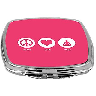 Rikki Knight Peace Love Yoga Design Compact Mirror, Tropical Pink, 2 Ounce