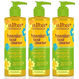 Alba Botanica Hawaiian, Pineapple Enzyme Facial Cleanser, 8 Ounce (Pack of 3)