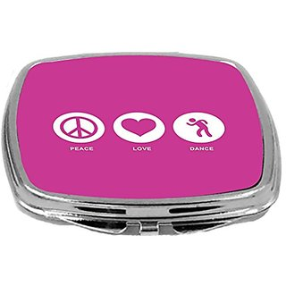 Rikki Knight Peace Love Dance Design Compact Mirror, Rose Pink, 2 Ounce