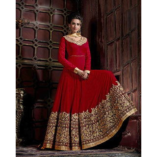 Shoponbit Heavy Designer Net  Velvet Embroidered Anarkali Suit