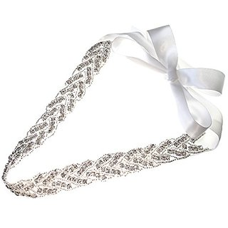 Braid Wedding Headband Crystals Beads with White Ribbon Bridal Hair Fashion Accessory