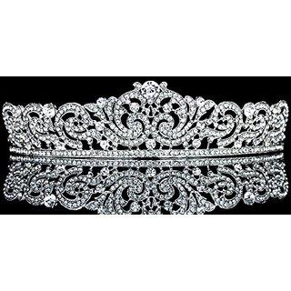 Ribbon Design Rhinestone Crystal Pageant Bridal Tiara Crown T1027