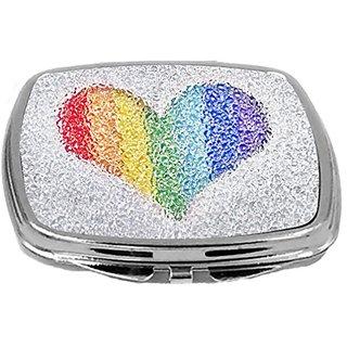 Rikki Knight Compact Mirror, Rainbow Heart