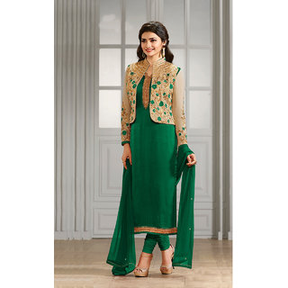 Shoponbit New Designer Green Color Semi-stitched Salwar Suit