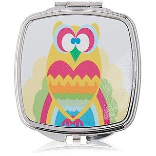 Rikki Knight Compact Mirror, Owl Multi Heart On Rainbow