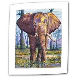 Art Wall Elephant by Dan McDonnell Flat/Rolled Canvas Art with 2-Inch Accent Border, 18 by 24-Inch