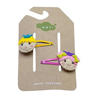 Grazie Little Girls Happy Kids Snap Clips One Size Pink and Yellow