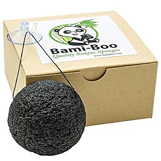 Black Konjac Sponge With Activated Charcoal - Facial Cleanser - All Natural Fiber - Environmentally Friendly + Suction C