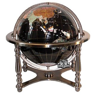 Unique Art 21-Inch Tall Black Ocean Table Top Gemstone World Globe with 4 Leg Silver Stand