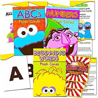 Sesame Street Flash Cards Super Set Toddler Kids -- Over 100 Flash Cards with Reward Stickers (3 Packs -- Sesame Street
