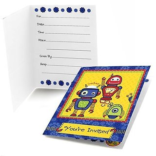 Robots Fill-in Party Invitations (8 count)