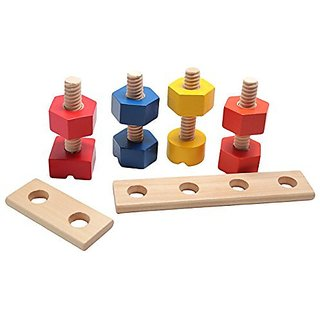 Large Wooden Nuts and Bolts Fine Motor Montessori Activity for Toddlers - Wood Toy
