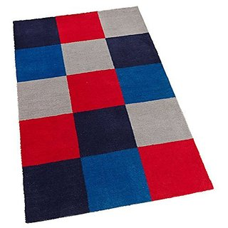 KidKraft Kids Yarn Dyed Grid Rug, Blue, 4 x 6