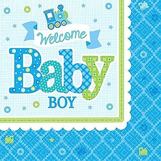 Amscan Charming Welcome Little One Boy Luncheon Napkins Baby Shower Party Supplies, 6-1 2 x 6-1 2